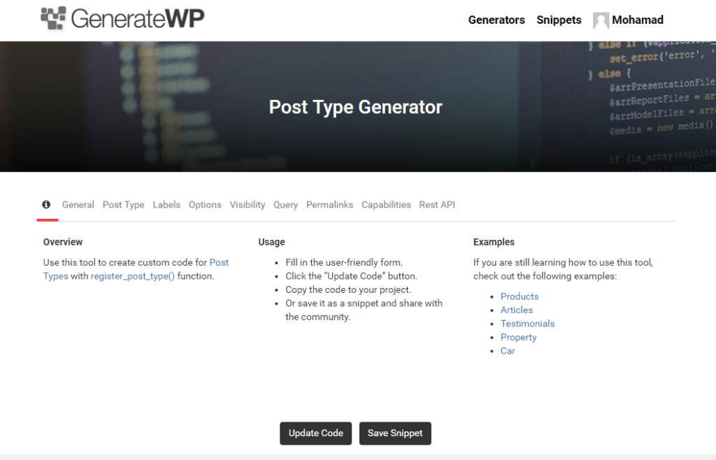 GenerateWP.com Generate Post Type