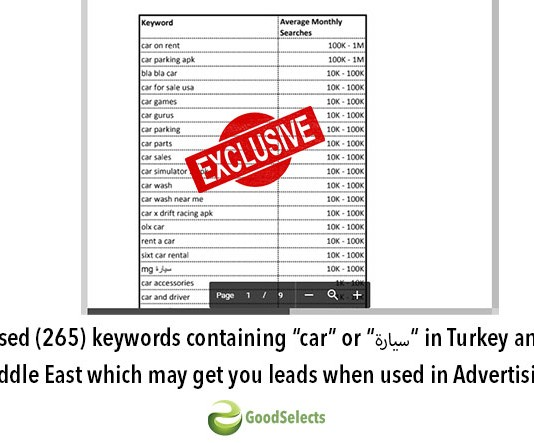 "Top researched keywords containing ""car"" or ""سيارة"" which may get you leads when used in Advertising in Turkey and the Middle East!"